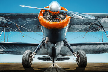 front view at an historical aircraft
