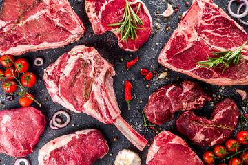 Set of various beef steaks