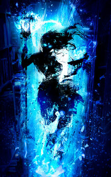 A female wizard wrapped in blue magic, ominously hovers in the air in the middle of the library holding a book burning with blue flames. 2D illustration