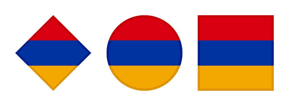 armenia flag icon set. isolated on white background