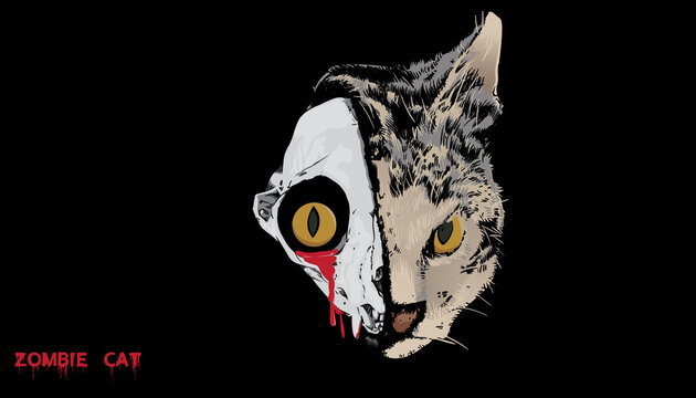 A vector illustration for zombie cat