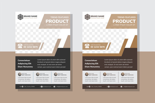 furniture product flyer design template use vertical layout with space for photo use diagonal shape. dark black and brown flat colors element.