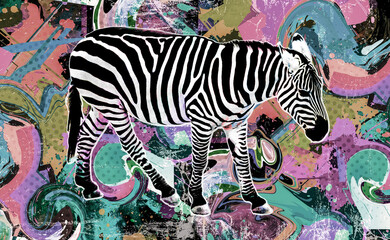 zebra art with colorful stripes