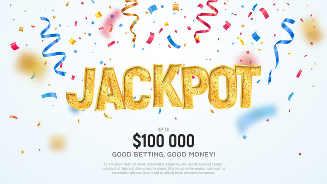 Jackpot golden word on falling down confetti background. Winning vector illustration. Advertising of prize in gamble games on white background