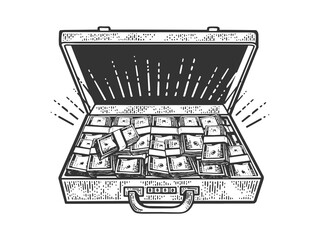 suitcase with cash dollars sketch raster