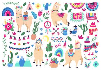 Naklejka premium Meksykańskie słodkie lamy. Zwierzęta dzikie zwierzęta lamy i alpaki peruwiańskiej, zabawne postacie lamy i symbole etniczne Peru wektor zestaw ikon ilustracji. Sukulenty z kwiatami, górami i tęczą