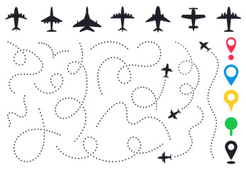 Fototapeta Plane route line. Planes dotted flight pathway, travel destination airplane track, planes and traveling routes vector illustration icons set. Dashed trace or line trail, map pins for location obraz