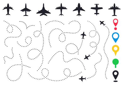 Plane route line. Planes dotted flight pathway, travel destination airplane track, planes and traveling routes vector illustration icons set. Dashed trace or line trail, map pins for location