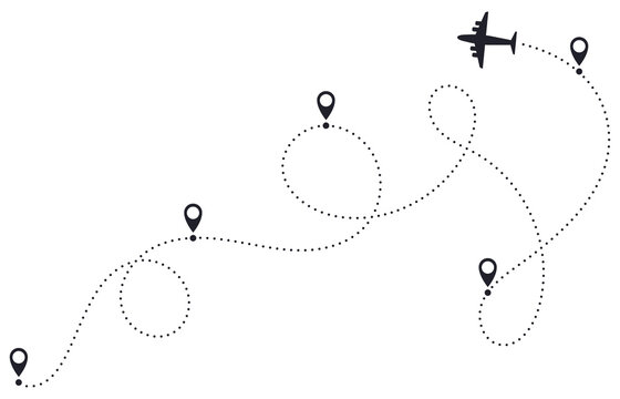 Airplane route line. Plane dotted route, airplane destination track, plane traveling destination pathway, plane travel map vector illustration. Location points with dashed itinerary