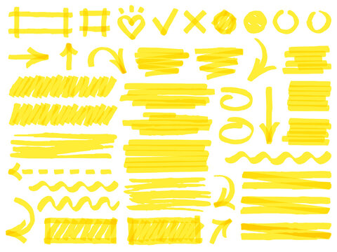 Hand drawn marker strokes. Yellow marker stroke lines, markers stripes and highlight elements, permanent marker signs vector illustration set as check marks, heart, arrow with various direction