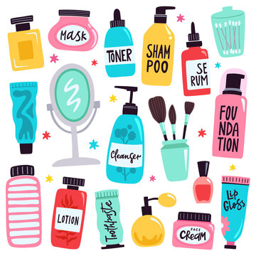 Makeup tools. Skincare routine cosmetic products, hand drawn skincare cosmetic doodle tools, beauty and makeup vector illustration icons set. Bottles with mask, toner, shampoo, serum, lotion