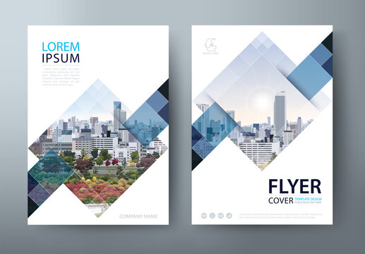 White blue annual report brochure flyer design, Leaflet cover presentation, book cover template, layout in A4 size.