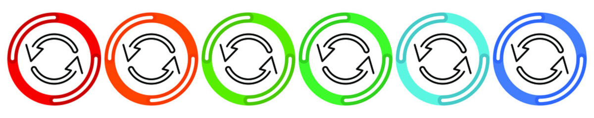 Fototapeta Arrows cyclic rotation icons, two arrows recycling recurrence, renewal line symbols on white background. Vector 6 colors option icon. Vector illustration flat design UI and UX obraz