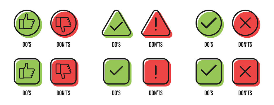 Do and Don't. Thumb up and thumb down. Tick and cross. Good and bad symbols. Like and dislike icons. Vector illustration