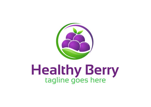 Healthy Berry Fruit Logo Design Template