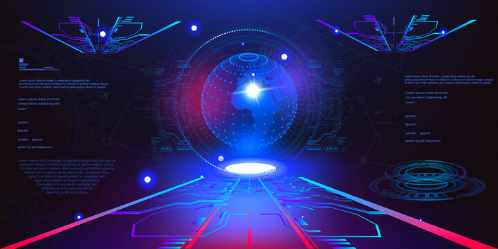 Holographic blue glowing 3D ball or earth energy shield in futuristic space of user HUD interface. Glowing volumetric 3D ball with dots or segments. Abstract background. Video game interface