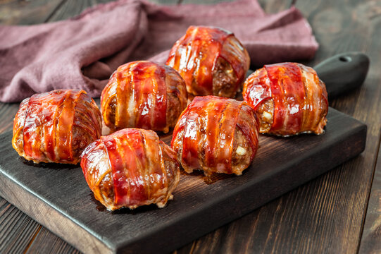 Bacon wrappped meatballs
