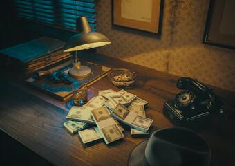 Film noir style desktop with revolver and cash money - fototapety na wymiar