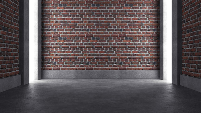 Empty industrial concrete room with brick wall and lighting, 3D render