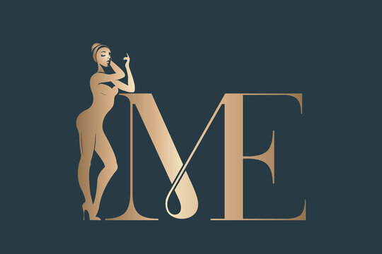 Beautiful woman silhouette and word 'ME'.Girl power message.Feminist illustration.Attractive body shape isolated on dark background.Young female.Golden color.