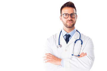 Male doctor portrait while standing at isolated white background