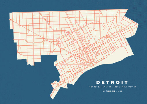 Detroit City Map Vector Poster
