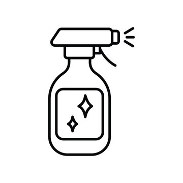 Spray bottle for cleaning surface icon, easy cleaning, thin line symbol on white background - editable vector illustration eps 10