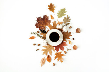 Cup of coffee with milk, cotton buds, acorns, dry leaves on white background. Flat lay, top view.