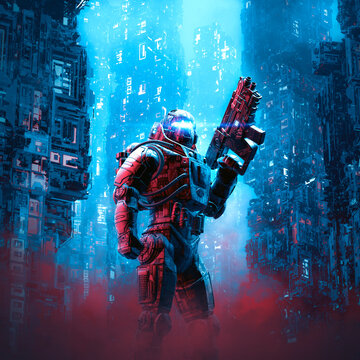 Cyberpunk soldier city patrol / 3D illustration of science fiction military robot warrior patrolling night time dystopian streets