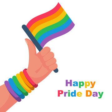 Happy pride day. Colored flag as symbol of freedom and bandage on hand. Gay pride concept. Flag LGBT. Vector illustration flat design. Isolated on white background. Printable banner and web template.