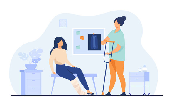 Woman with injured broken leg in plaster cast sitting in doctor office, taking X ray and crutch. Vector illustration for trauma, hospital, treatment, physiotherapy concept