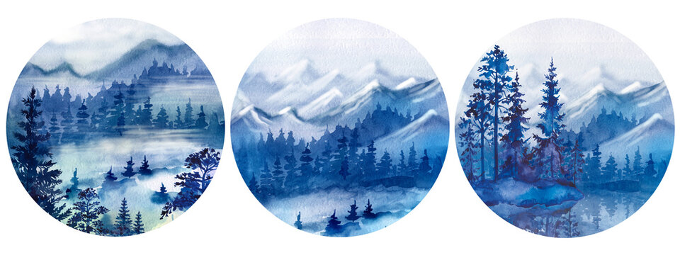 Watercolor set with the image of the forest. Forest, trees, pines, mountains. Nature, forest decor, round, decorative. Blue forest, evening.
