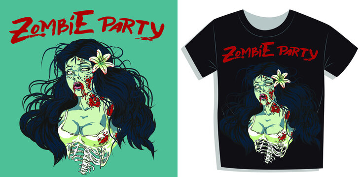 Aesthetic t-shirt print vector illustration of a sexy zombie pinup girl, zombie night poster template in double exposure style ideal for media of event or party zombie, zombie pinup girl holding