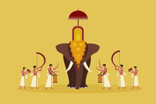 Decorated elephant with people playing percussion instruments.A scene from Kerala's religious festival