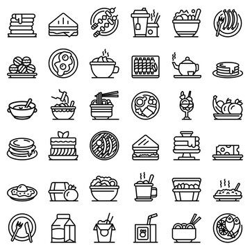 Lunch icons set. Outline set of lunch vector icons for web design isolated on white background