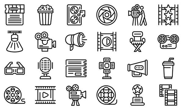 Cinematographer icons set. Outline set of cinematographer vector icons for web design isolated on white background
