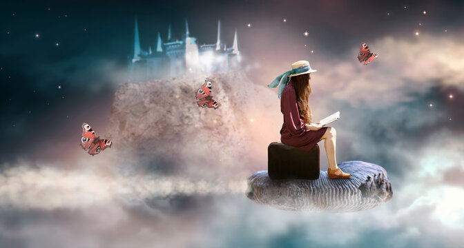 Lady woman sitting on suitcase, read book and flies on ammonite fossil through space around world, fantasy scene with ghost palace and butterflies, power of imagination concept, build castles in air.