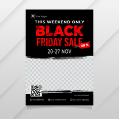 Black Friday Flyer Template with ink splash