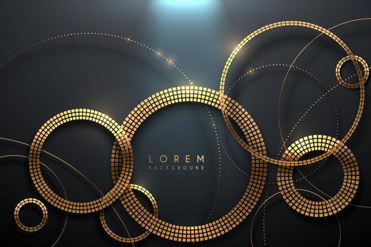 Luxury golden circles on dark background
