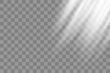 Shining sun glare rays, lens flare vector illustration. Sunlight glowing png effect. White beam sunrays sky background