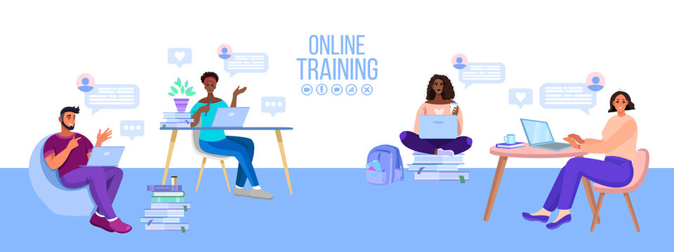 Online school or university education vector illustration with diverse students, classroom. Virtual meeting or internet teamwork banner with freelancers, laptops. Online education or training concept
