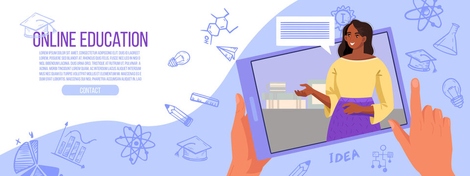 Online school or university education illustration with young black tutor, tablet screen, knowledge doodles. Virtual meeting or video call concept with talking teacher. Online education vector banner