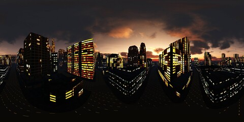 Wall Mural - panorama of the night city, HDRI, environment map, Round panorama, spherical panorama, equidistant projection, 360 high resolution panorama