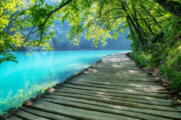 Plitvice lakes in Croatia. National Park in summer. Waterfalls and lakes among the forest. Footpath for hiking. Croatian travel image.