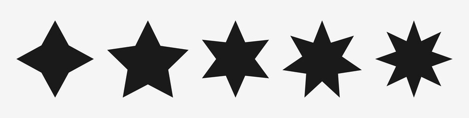 Black star vector icons set – Stars symbols with different pointed : four, five, six, seven, eight. Star branches : 4, 5, 6, 7, 8 point signs - Isolated shapes, vector illustration on white background