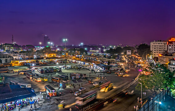 Aerial image of Bangalore bus terminus in the evening with nice sky.