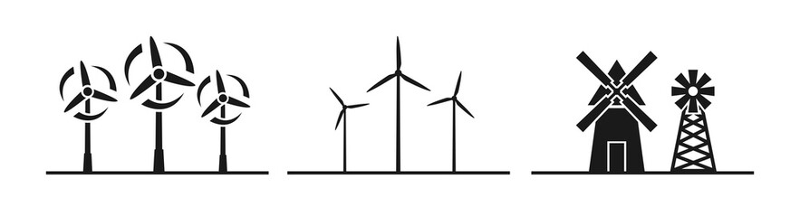 Windmill silhouette icon vector illustration on white background