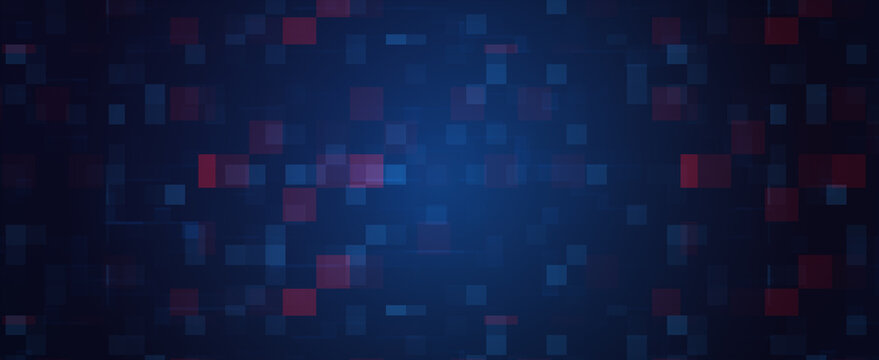 Abstract Digital Futuristic Technology Pixel Panoramic Banner  Background. 3D rendering illustration Dark BLUE backgroud texture in rectangular  pattern with random repeating red blue rectangles.