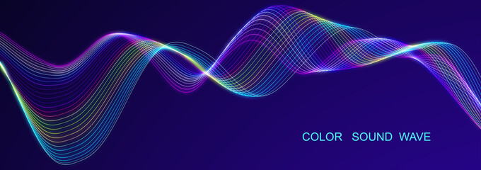Colored sound wave. Equalizer for music. Futuristic dots background. 3D rendering. widescreen