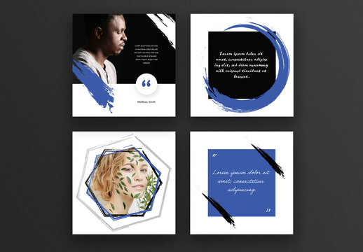 Abstract Social Media Layouts with Black and Blue Accent
